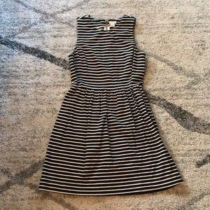 J Crew Black and White Striped Skater Dress
